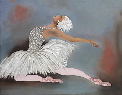 The White Swan Art Print by Caroline  Stuhr