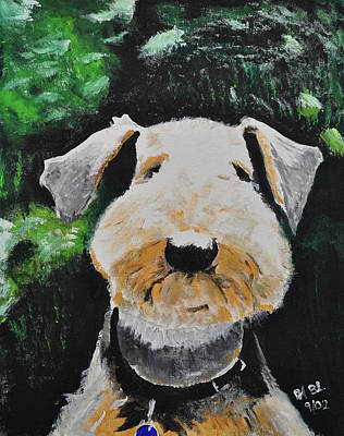 Thinking Airedale Original by Ruben Barbosa