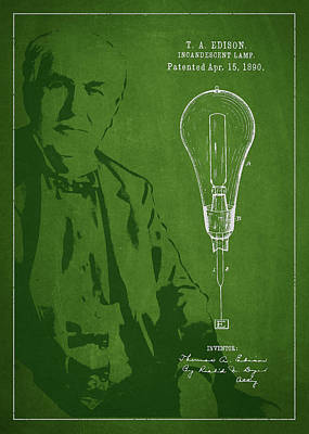 Thomas Edison Incandescent Lamp Patent Drawing From 1890 Art Print