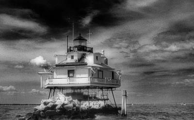 Landmarks Royalty Free Images - THOMAS POINT SHOAL LIGHTHOUSE Black and white Royalty-Free Image by Skip Willits