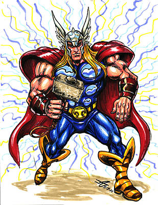 Art Print featuring the drawing Thor  by John Ashton Golden