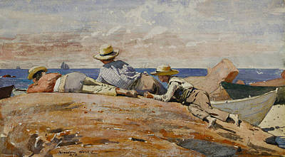 Key West Painting - Three Boys On The Shore  by Celestial Images