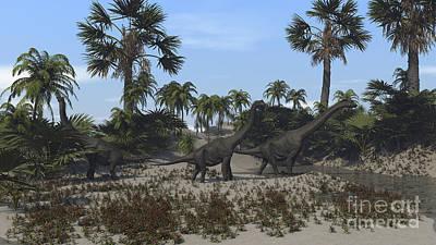Digital Art - Three Brachiosaurus Dinosaurs Grazing by Kostyantyn Ivanyshen