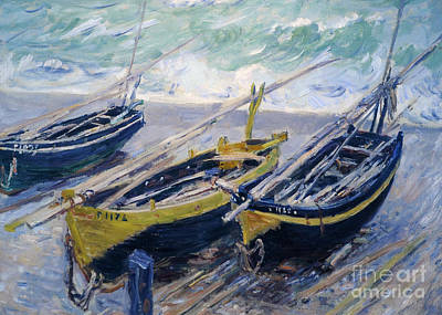 Claude Painting - Three Fishing Boats by Claude Monet