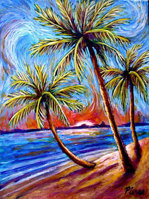Painting - Three Palms On The Beach by Sebastian Pierre