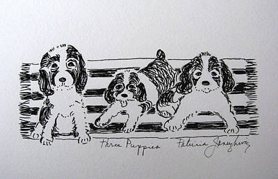 Art Print featuring the drawing Three Puppies by Patricia Januszkiewicz