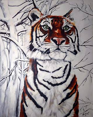 Painting - Tiger In The Snow by Jill Sluka