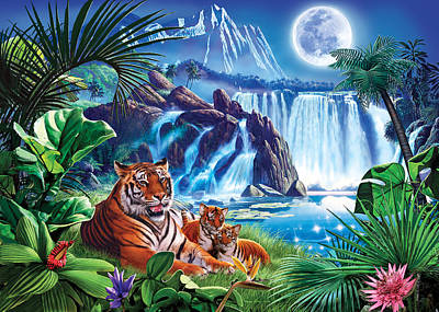 Tiger Moon Art Print by Steve Crisp