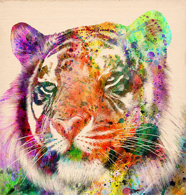 Lion Illustrations Painting - Tiger Portrait  by Mark Ashkenazi