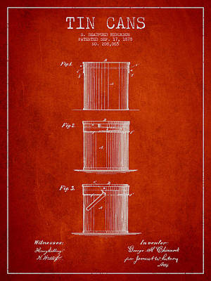 Tin Cans Patent Drawing From 1878 Art Print