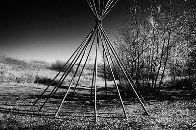 tipi wooden frame at Wanuskewin heritage park saskatoon Saskatchewan Canada Art Print by Joe Fox