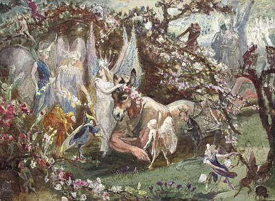 Titania And Bottom Print by John Anster Fitzgerald