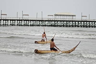 Mochica Photograph - Totora Reed Fishing Boat by Kike Calvo