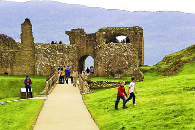 Tourists And The Path At Ruins Of The Urquhart Castle In Scotland Art Print by Ashish Agarwal