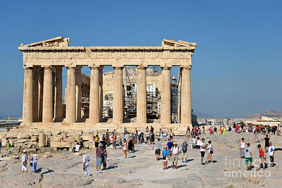 Temple Photograph - Tourists In Acropolis Of Athens In Greece by George Atsametakis
