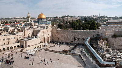 Tourists Praying At A Wall, Wailing Art Print by Panoramic Images
