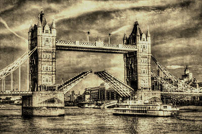 Colorful People Abstract Royalty Free Images - Tower Bridge London Vintage Royalty-Free Image by David Pyatt