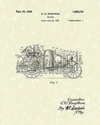 Tractor Drawing - Tractor 1928 Patent Art by Prior Art Design