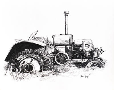 Grass Drawing - Tractor by Aaron Spong