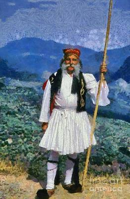 Painting - Man Dressed In Traditional Clothes In Delphi I by George Atsametakis