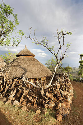 Terracing Photograph - Traditional Konso Village On A Mountain by Martin Zwick