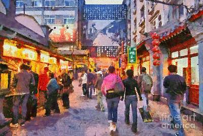 Painting - Traditional Shopping Area by George Atsametakis