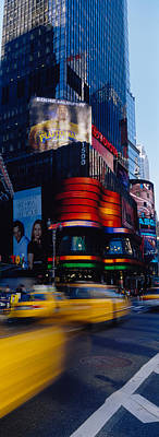 Crosswalk Photograph - Traffic On A Street, Times Square by Panoramic Images
