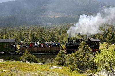 Transportation Photograph - Train Climbing To Summit Of Brocken Mountain Germany by David Davies
