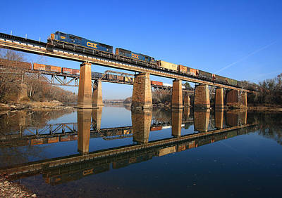 Photograph - 2 Trains 2 Trestles Cayce South Carolina by Joseph C Hinson Photography