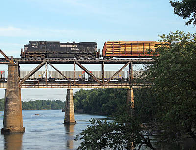 Photograph - 2 Trains Moving Over The Congaree by Joseph C Hinson Photography