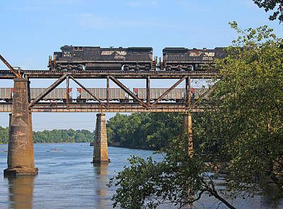 Photograph - 2 Trains Over The Congaree by Joseph C Hinson Photography