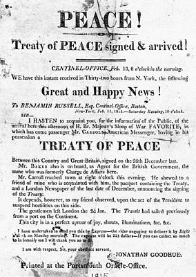 Treaty Of Ghent, 1814 Art Print by Granger