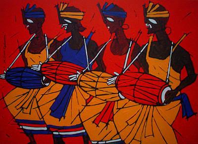 Indian Tribal Art Painting - Tribal Dance by Jiaur Rahman