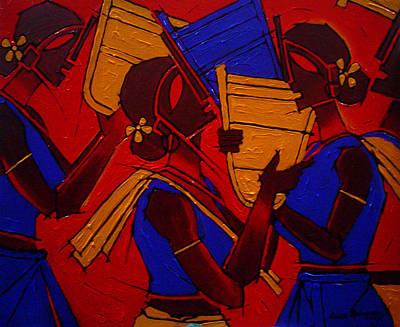Indian Tribal Art Painting - Tribal Women by Jiaur Rahman