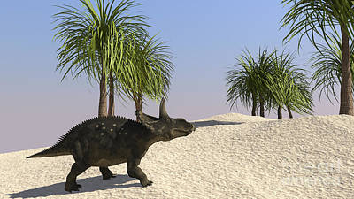 Triceratops Digital Art - Triceratops Walking In A Tropical by Kostyantyn Ivanyshen