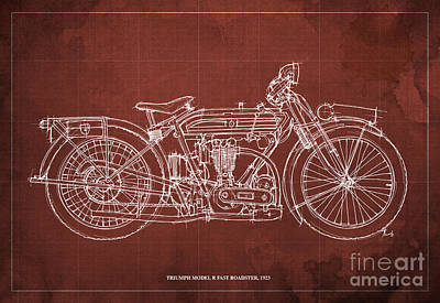 Bike Drawing - Triumph Model R Fast Roadster 1923 by Pablo Franchi