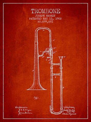 Trombone Digital Art - Trombone Patent From 1902 - Red by Aged Pixel