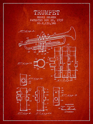 Trumpet Digital Art - Trumpet Patent From 1939 - Red by Aged Pixel