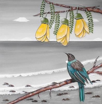 Acrylic Wall Art - Photograph - Tui Under Kowhai by Astrid Rosemergy