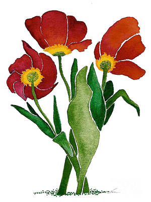 Painting - Red Tulip Trio In Retro Style by Nan Wright
