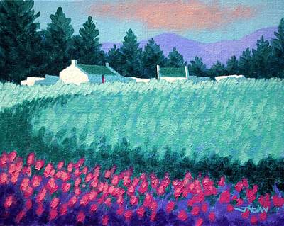Perspective Painting - Turquoise Meadow by John  Nolan