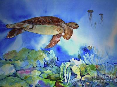 Painting - Turtle And Jelly Fish by Donna Acheson-Juillet