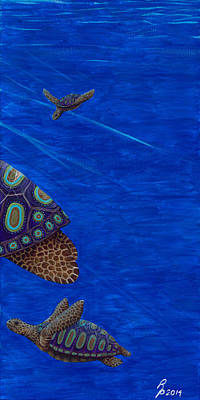 Painting - Turtle Painting Bomber Triptych 3 by Rebecca Parker