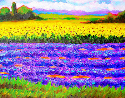 Tuscan Sunflowers Painting - Tuscan Lavender And Sunflowers by Susi Franco