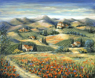 Tuscan Villa And Poppies Print by Marilyn Dunlap
