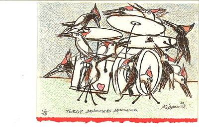 Twelve Drummers Drumming Original by Kippax Williams