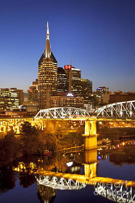 Photograph - Twilight Over Nashville Tennessee by Brian Jannsen