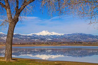 Photograph - Twin Peaks Longs And Meeker Lake Reflection by James BO Insogna