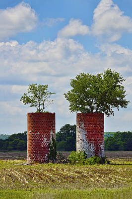 Brick Silos Photograph - Twins by Skip Hunt