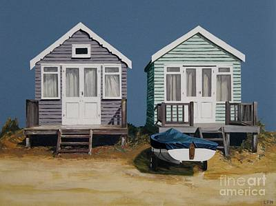 Painting - Two Beach Huts And Boat by Linda Monk